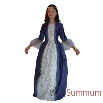 Costume Au fil des contes - Robe Marquise bleue fleurie avec jupon - 10 ans