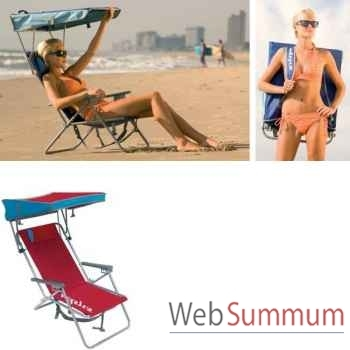 Chaise de plage retro avec canopy Kelsyus nouveau colori rouge -80350