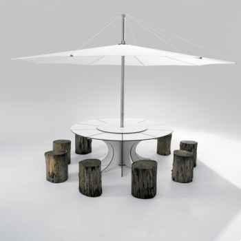 Table et parasol Extremis Arthur  Extremis pour 8 personnes, InUmbra -AROW08_IUW35