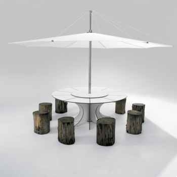 Table et parasol Extremis Arthur  Extremis pour 8 personnes, InUmbra -AROW08_IUW40