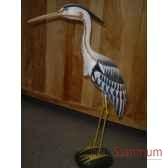 heron en bois animaux bois lcdm010