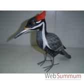 oiseau noir gris et crete rouge en bois animaux bois lcdm047