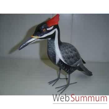 Oiseau noir gris et crête rouge en bois Animaux Bois -lcdm047
