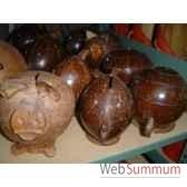 tirelire en noix de coco animaux bois lcdm039