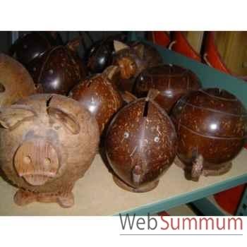 Tirelire en noix de coco Animaux Bois -lcdm039