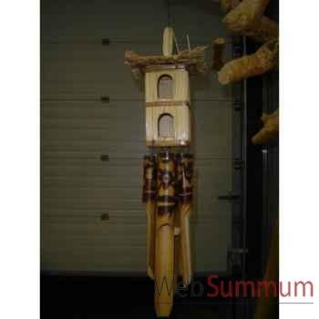 Carillon bambou Animaux Bois avec cabane à oiseaux -lcdm054