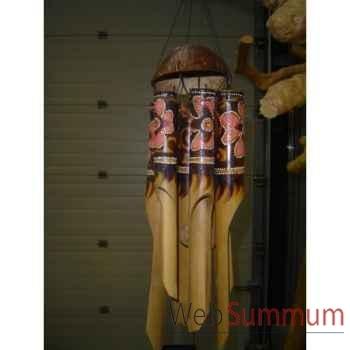 Carillon coco Animaux Bois avec chapeau en coco -lcdm055
