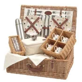 Panier pique-nique en bois de saule Optima Bridgewater Polka Dot 4 personnes Tea -bridge4dot
