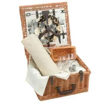 Panier pique-nique en bois de saule Optima Peony Wine Lovers Basket 4 personnes -peony4wine