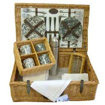 Panier pique-nique en bois de saule Optima Burleigh Traditional Tea 4 personnes -burl4tea