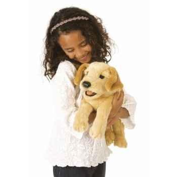 Marionnette Peluche Folkmanis Chiot de Labrador jaune -2833