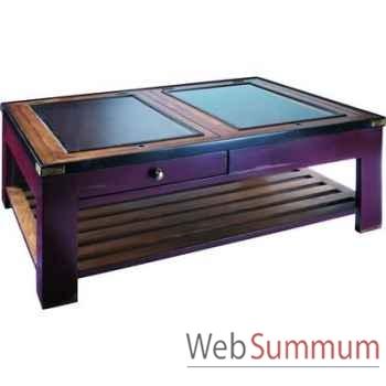 Table basse Table de Salon Plateau en Verre Rouge -amfmf004