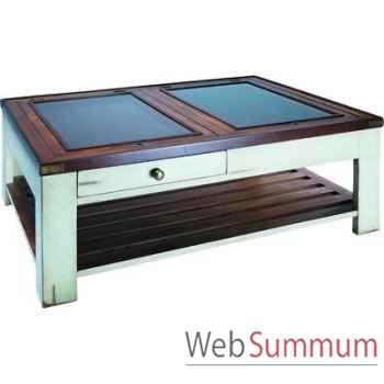 Table basse Table de Salon Plateau en Verre Ivoire -amfmf003