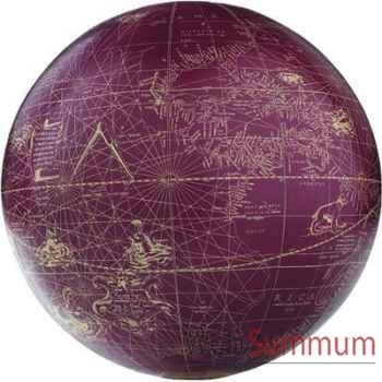 Globe Terrestre Mercator Rouge Ivoire 18 cm -amfgl314