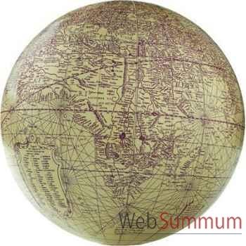 Globe Terrestre Mercator Ivoire Rouge 18 cm -amfgl315