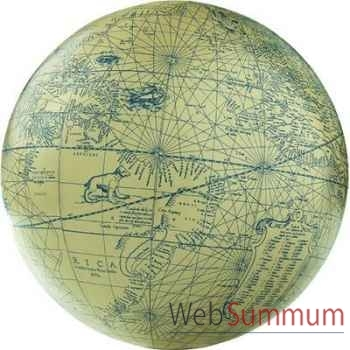 Globe Terrestre Mercator Ivoire Bleu 12 cm -amfgl117