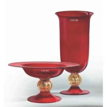 Coupe en verre Formia couleur rouge et or -V01121