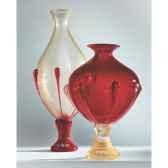 vase en verre formia couleur or et rouge v14101