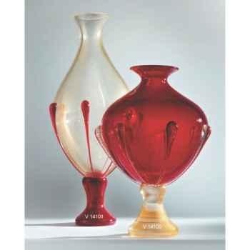 Vase en verre Formia couleur or et rouge -V14101