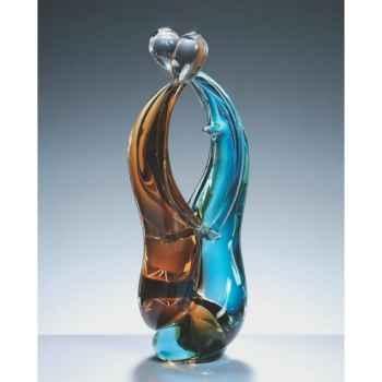 Couple d'amoureux en verre Formia bicolore aqua bleu et transparent -V03049Z