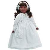 poupee fille africaine sharif paola reina en robe de communion blanche 330c