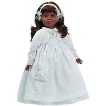 Poupée fille africaine Sharif Paola Reina en robe de communion blanche-330C