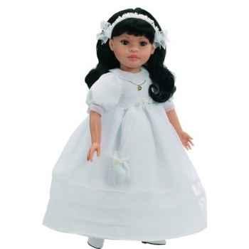 Poupée fille européenne Mei brune Paola Reina en robe de communion blanche-332C