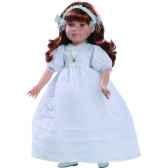 poupee fille europeenne sandra rousse paola reina en robe de communion blanche 333c