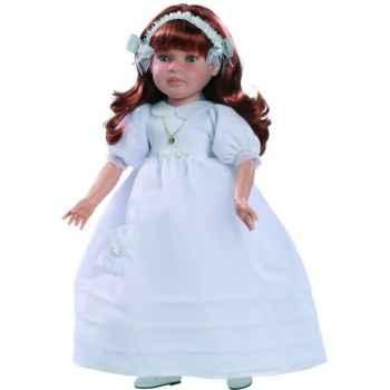 Poupée fille européenne Sandra rousse Paola Reina en robe de communion blanche-333C