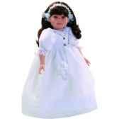 poupee fille europeenne lidia brune paola reina en robe de communion blanche 334c