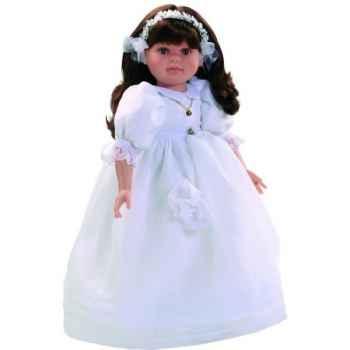 Poupée fille européenne Lidia brune Paola Reina en robe de communion blanche-334C