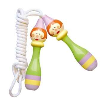 Corde à sauter enfants verte en bois -18031