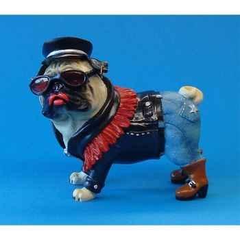 Figurine chien Pugnacious Le motard -PUG16158