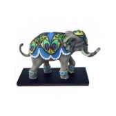 figurine elephant tusk peacock tu13050