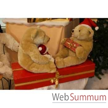Automate décors de Noël 2 Ours Polaire sur paquet cadeau grand modèle -OU2A