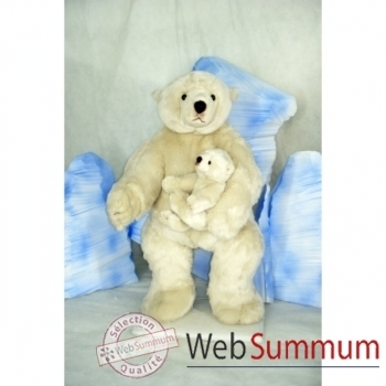 Automate décors de Noël Maman Ours Polaire et son bébé ours polaire grand modèle -OU4A