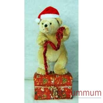 Automate décors de Noël Ours debout avec bonnet rouge -OU5A