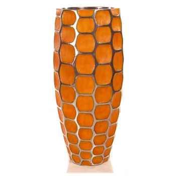 Vases-Modèle Mando Vase, surface aluminium avec patine or-bs3354alu/org
