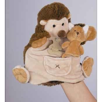 Marionnette Peluche Histoire d\'Ours Hérisson 22cm et sa petite marionnette doigt Renard -HO1354