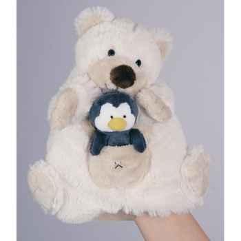 Marionnette Peluche Histoire d\'Ours Ours blanc 22cm et sa petite marionnette doigt Pingouin -HO1357