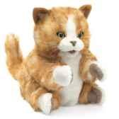 marionnette peluche chaton brun orange folkmanis 2845