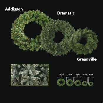 Couronne de sapin 60 cm Professionnelle Greenville Pine Vert