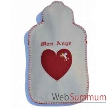 Bouillotte Coeur ange ecru rouge - cara0105