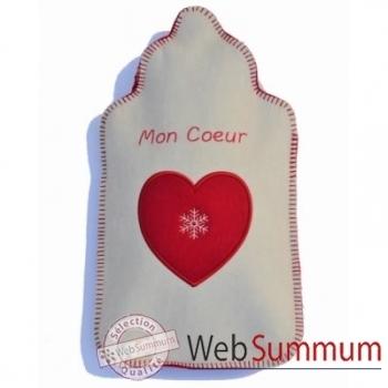 Bouillotte Coeur flocon ecru rouge - cfra0106