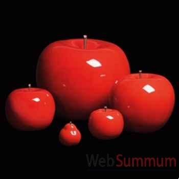 Pomme rouge brillant glacé Bull Stein - diam. 59 cm indoor