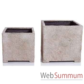 Vases-Modèle Cube Planter Large,  surface granite-bs3321gry