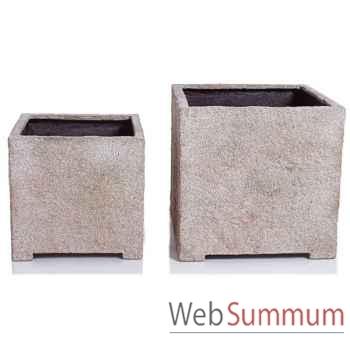 Vases-Modèle Cube Planter Medium,  surface granite-bs3320gry