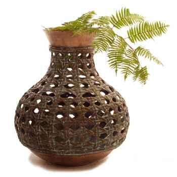 Vases-Modèle Mactan Vase, surface bronze avec vert-de-gris-bs3275vb