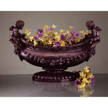 Vases-Modèle Cherub Oval Bowl, surface marbre vieilli patine or-bs3063wwg