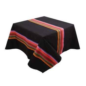 Nappe 165x165 Mauleon noir 100% coton Artiga Hivers -arti10341